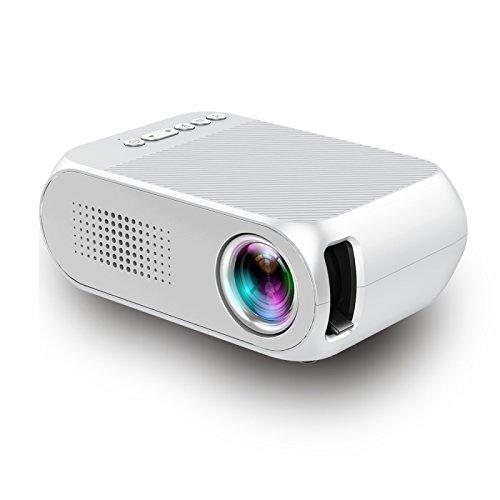 プロジェクターホームミニHD 1080P LEDミニポータブルプロジェクタースピーカーサポートMP4、MKV、RMVB、WMV、FLV、M2TS形式のネットワークビデオ B07P8L8X8C White