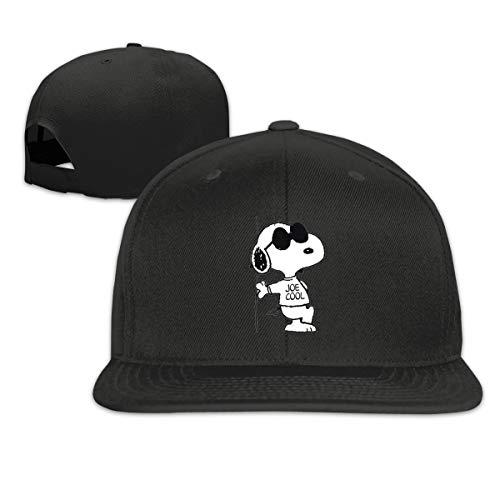 YouNood Snoopy Woodstock Flat Bill Snapback Adjustable Travel Caps Black -