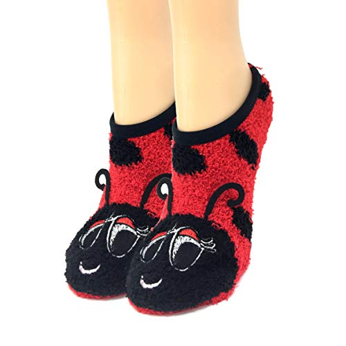 OoohYeah Women's Animal Mary Janes Lady Lady Bug Sock Slippers One Size -