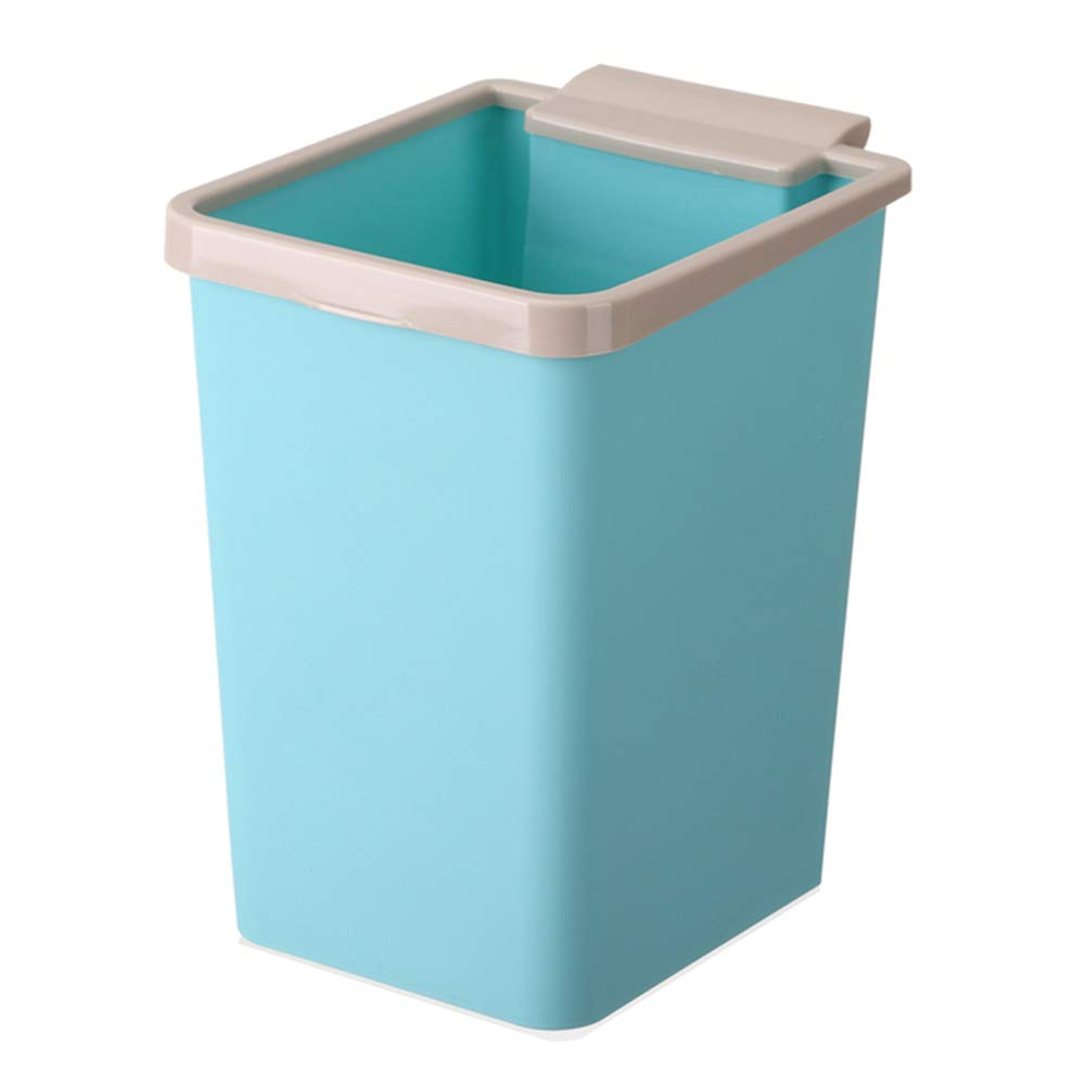 Tchin Garbage Collection Box Plastic Coverless Trash Can Indoor Trash Can Kitchen Household Storage Bucket Paper Bucket 13L (Color : Blue)