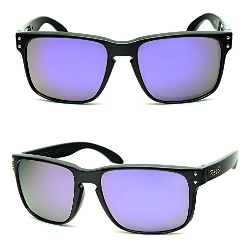BNUS Italy made Classic Sunglasses Corning Real Glass Lens w. Polarized Option (Frame: Black, Lilac - Real B Sunglasses