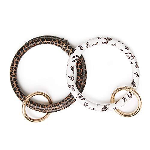 Key chain Bracelet bangle Men Women Lanyard Vegan Leather Key Ring Loop Key Fob Saver (Leopard Cactus/Leopard) - Loop Chain Bracelet
