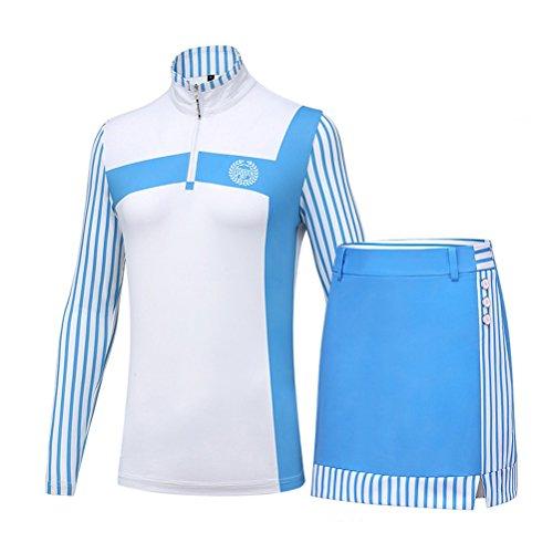 Kayiyasu ゴルフウェア レディース ゴルフスカート ポロシャツ 女性用 長袖 上下セット 021-xsty-tz005(L ブルー)