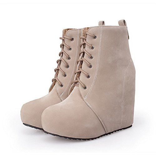 High Boots Solid Lace Toe Imitated Beige Closed Heels up Women's Allhqfashion Round Suede HFxpqTIww