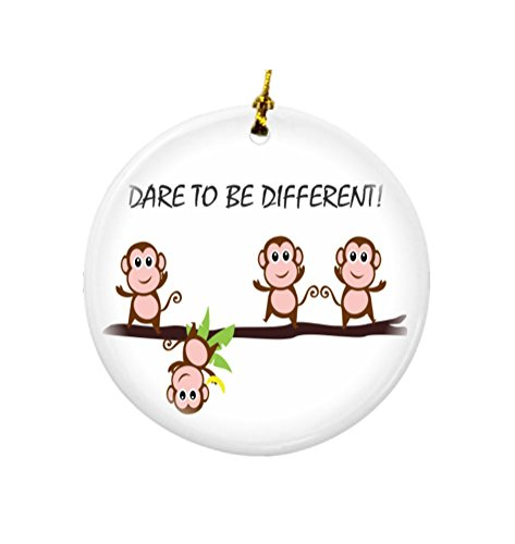 Rikki Knight Dare to be Different Monkeys Design Round Porcelain Two-Sided Christmas Ornaments