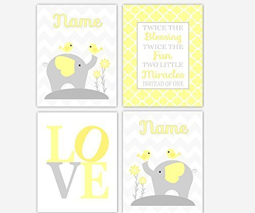 Twins Framed Print Set - Twins Baby Nursery Wall Art Gray Yellow Elephant LOVE Twins Quote Miracle Baby Nursery Decor Elephant Wall Decor Twin Personalized Name Art SET OF 4 UNFRAMED PRINTS