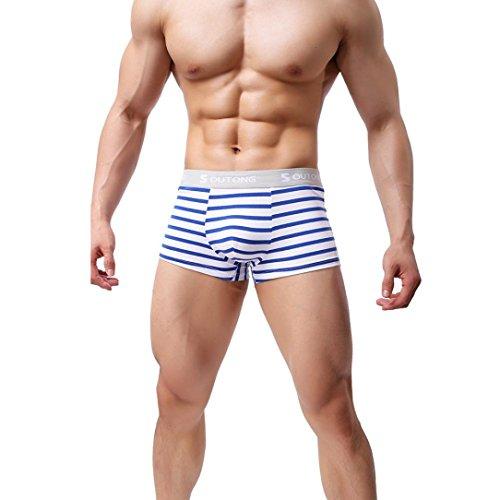 Rayé Slip Vêtements Bulge Slip Sexy sous Shorts Pouch Boxer Mode Bleu TiaQ Hommes Uq4wxXBU