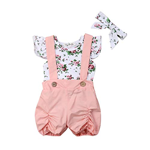 3PCS Toddler Girl Flutter Sleeveless Romper Baby Girl Wildflowers Print Bodysuit Solid Halter Pants Headband Outfit Sets (White,6-12 Months) from niceclould