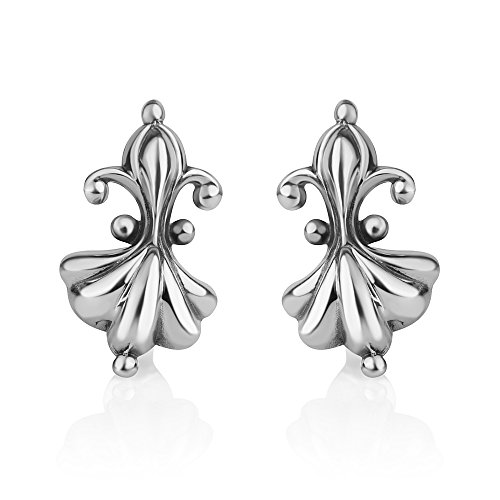 925 Sterling Silver Lovely Little Lily Flower Symbol Vintage Design Post Stud Earrings 18 mm