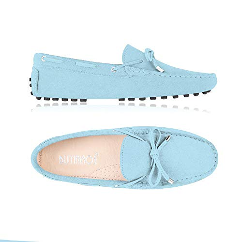 Lucky Exclusive Womens Moccasins Slippers Breathable Driving Loafers Women Casual Flat Suede Shoes Blue ()