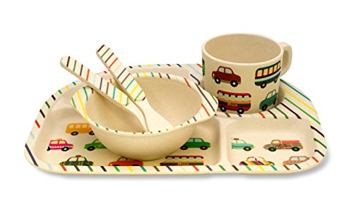Culina Kinder Bambus 5-teiliges Geschirr Set - Fahrzeuge