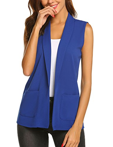 (Dealwell Women's Casual Sleeveless Blazer Coat Open Front Solid Pocket Short Vest Cardigan (Royal Blue, XXL))