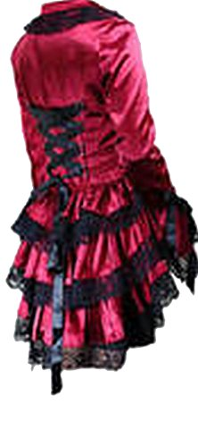 Red Satin Corset Bustle Lace Ruffle Jacket Gothic Steam Punk Victorian Vintage Size 16