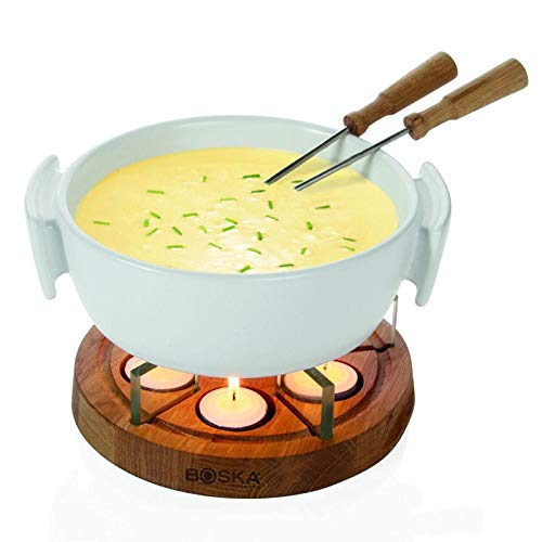 Boska Holland Tea Light Fondue Set with Oak Wood Base, 1 L White Stoneware Pot, Life ()