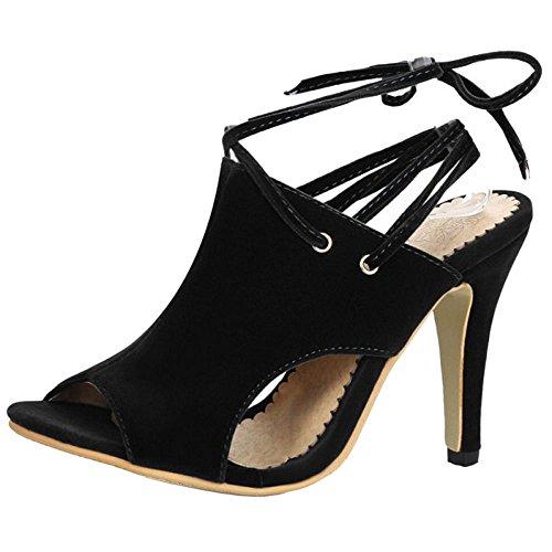 Coolcept Mujer Cordones Sandalias Peep Toe Black