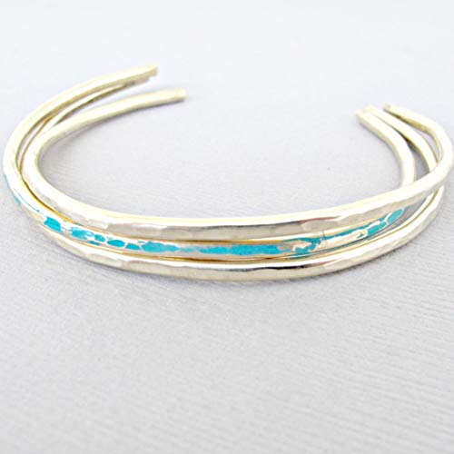 Gold Cuff Bracelet, Mint Green Turquoise armband, December Birthstone Bracelet ()