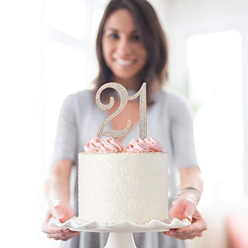 21 ROSE GOLD Cake Topper | Premium Sparkly Crystal Rhinestone