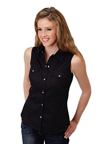 - Roper 0305202650017 Women's Solid Poplin Snap Collection Shirt, Black - M