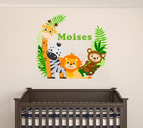 Custom Name Jungle Animals - Baby Safari Animals Series Theme Wall Decal - Wall Decal for Nursery Bedroom playroom Decoration (Wide 20
