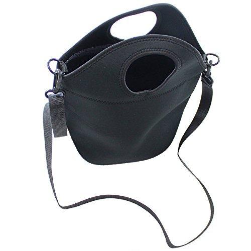 Neoprene Lunch Bag with Shoulder Strap, Black Large