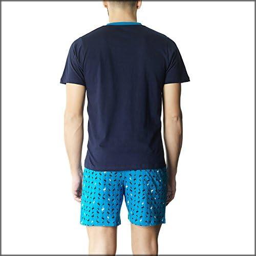 Pompea - Pijama para hombre de algodón turquesa L: Amazon.es: Ropa y accesorios