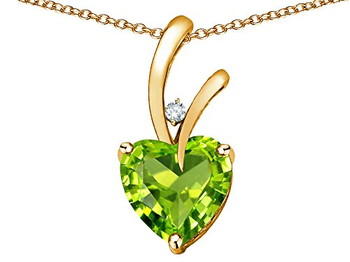 Star K Heart Shape 8mm Genuine Peridot Endless Love Pendant Necklace 10 kt Yellow Gold (10k Peridot Necklace)
