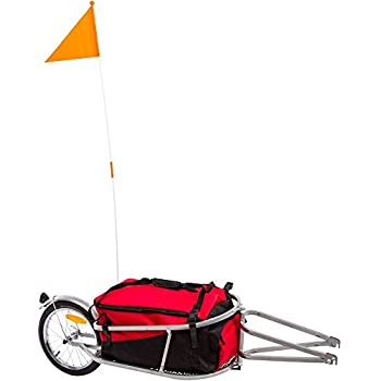 Image of Apex BCT-8002 Single Wheel Pull-Behind Bicycle Trailer with Cargo Bag Soft-Shell Carriers