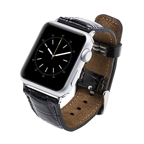(Tuscany Handmade Leather Watch Band Strap Compatible with Apple Watch 44/42/40/38 mm in All Series 1,2,3,4 with Stainless Steel Hardware (Crocodile Pattern Black, 38-40mm with Silver Connector&Clasp))