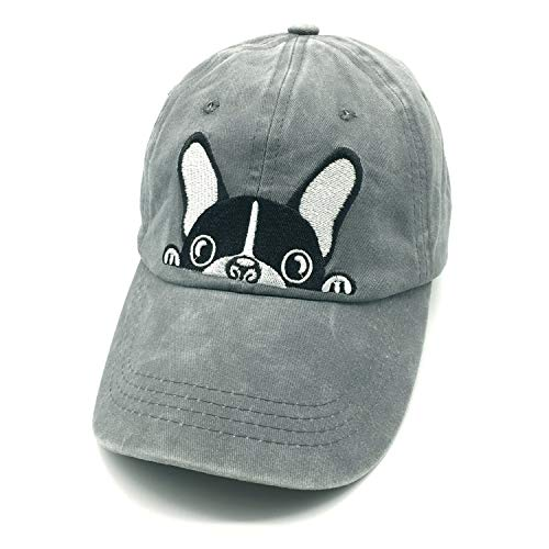 Waldeal Embroidered Cartoon Boston Terrier Bulldog Vintage Distressed Dad Hat Baseball Cap Dog Mom Dad - Terrier Gifts