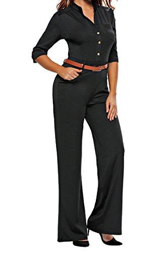 015b3af522b2d Pink Queen Womens Jumpsuits Elegant Button Loose Long Wide Leg Jumpsuits  Romper
