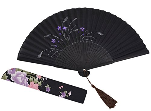 """Amajiji Chinese Japanese Folding Hand Fan for women,Vintage Retro Style 8.27"""" (21CM) Bamboo Wood Silk Hand Fans (CL-08)"""