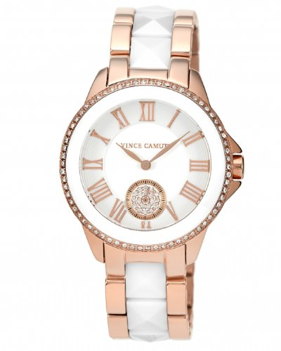 Vince Camuto Women's VC/5046WTRG Swarovski Crystal Accented Rose Gold Tone and White Ceramic Pyramid Bracelet Watch