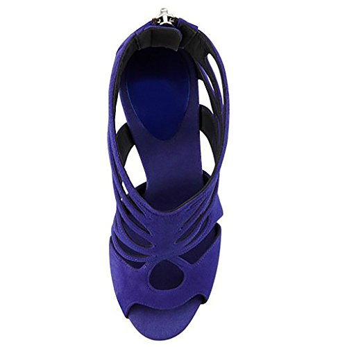 Toe Pattini Peep Alti Alla Aiweiyi Caviglia Dei Sandali Viola Tacchi Casuale Vestito Donne Delle Grande A Formato Fibbia Spillo RzqzPt0