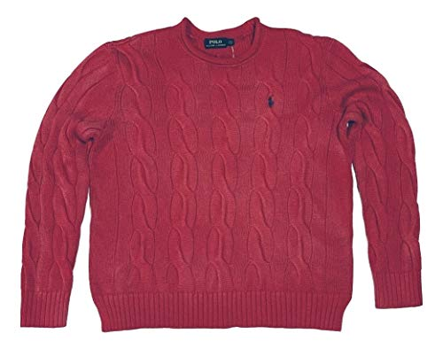 Polo Ralph Lauren Womens Rolled Crew Neck Cable Knit Sweater (Small, Bright Red/Scarlet)