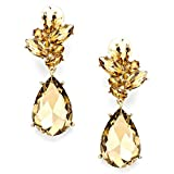 Chunky Women Brown Topaz Cz Crystal Clip-on Gold Earrings Pageant Drag queen