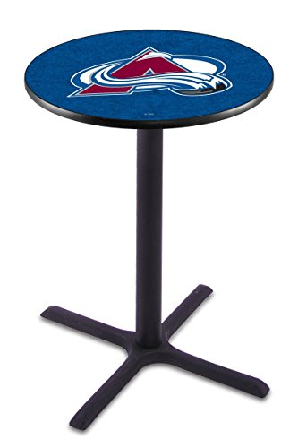 Colorado Pub Table Avalanche - Colorado Avalanche Black Wrinkle Bar Table with Cross Base