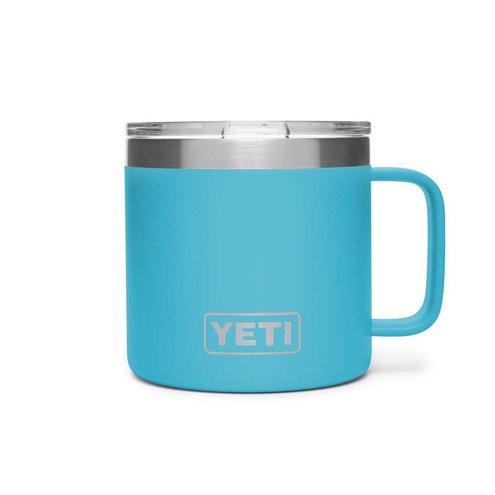 YETI Rambler 14 oz Stainless Steel Vacuum Insulated Mug with Lid, Reef Blue