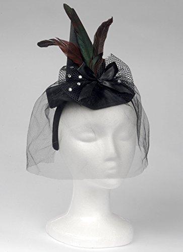 Loftus International Loftus Mini Witch Hat Headband W Feathers & Veil, Black, One Size Novelty Item