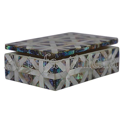 - Artefactindia Beautiful Mosaic Art White Marble Jewelry Box Pietra Dura Work Inlaid with Semi Precious Stones for Women/Girls / Souvenir Gift 6