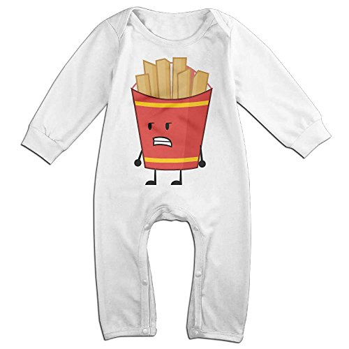 Baby Infant Romper French Fries Long Sleeve Jumpsuit Costume White 6 (Toddler French Fry Costume)