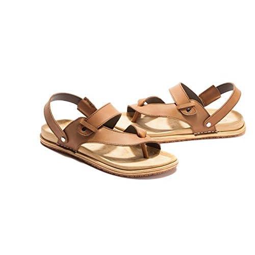 JiZhi Sandalias de los hombres / pantuflas antideslizantes de verano / transpirable / flip flops / zapatos de playa / casual al aire libre talón plano / caminar , brown , 38