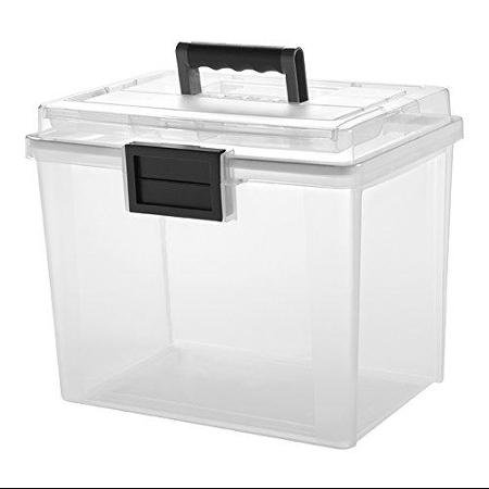 Iris Weather Tight Portable File Box – 4.75 Gal – Heavy Duty – External Dimensions: 13.7″ Length X 10.2″ Width X 11.9″ Height – Plastic – Clear, Gray – Document, Pen/pencil, Business (irs-110350)