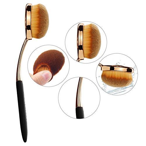 NEXGADGET Makeup Brush Oval Toothbrush Makeup Brush Set Soft Synthecic Fibers 6 Pieces for Powder Concealer Foundation Eyeliner Contour Cosmetics Tool (Black Handles)