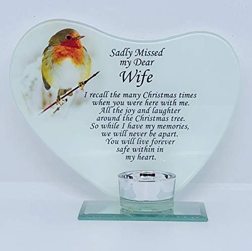 Sadly Missed my Dear Wife Memorial poem & Candle Holder