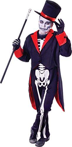 Halloween Skeleton Vodoo James Bond Fancy Dress Party Mr Bone Jangles Outfit