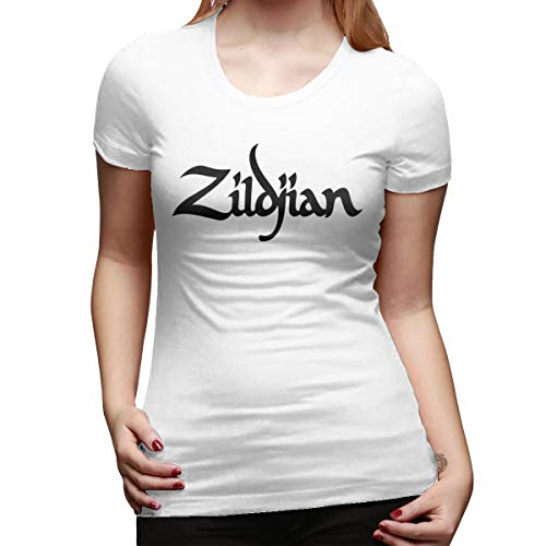 - Women's Cotton Short-Sleeved T-Shirt Zildjian Logo Tide Brand Cotton Loose Men and Women White XXL