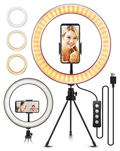10.2″ Selfie Ring Light with Tripod Stand, ELEGIANT Ring Light with Cell Phone Holder 3 Light Modes & 11 Brightness Level and 160 Bulbs for YouTube Video Live Stream Makeup Photography