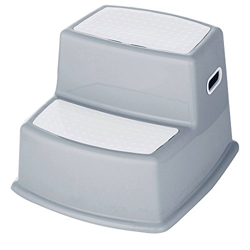 Elsaree Premium Dual Height Grey Step Stool for Kids | Anti-Slip Rubber Feet for Potty Training | Helps Toddlers of All Ages Reach the Toilet, Bathroom & Kitchen Sink | Sturdy & Safe Nonslip Surfaces by Elsaree