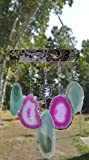 wind chime sliced Agate geode windchime stone sun catcher wind chime mobile window decor hanging silver Turtles Pink and teal agates