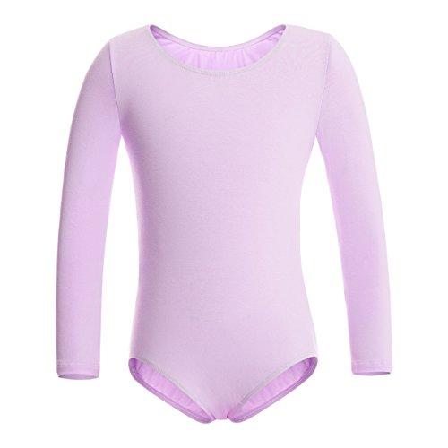 MAGIC TOWN Leotard Long Sleeve Girls Cotton Ballet Dance Gymnastics Bodysuit(4-6,Purple)